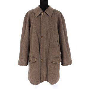 Burberry Brown Wool Zip-Up Car Coat L Nova Check